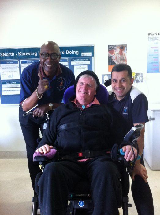 Gerard Stevenson at Austin Hospital with nurses